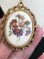 Vintage Gold Micro Beaded Flower Cameo Mirror Pendant Necklace