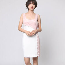 New Guess Pink Suede White Lace Up Dress Size XS