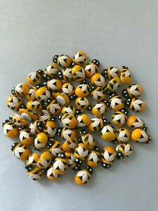Wooden Miniature Painted Bees with Adhesive Sticker x 50 for Crafts