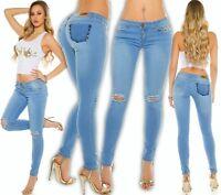 Koucla Skinny Jeans mit Nieten Rissen Jeanshose Hose Used-Look figurbetont 40 L