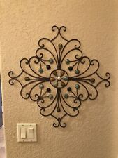 Large Metal Scrolled With Ceramic Beads Outdoor Wall Decor