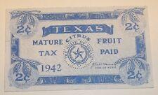 US Stamp State Revenue Texas Mature Citrus Fruit 2 Cents 1942 Used