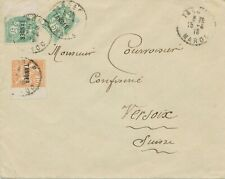 TANGER - FRENCH MAIL 1918 provisional definitive stamps on cover to Switzerland