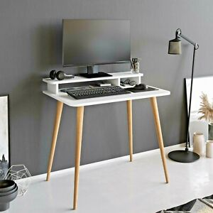 P&W Computer Laptop Desk With Screen Riser For Home Office Modern Workstation