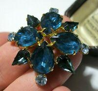 Vintage Jewellery Art Deco Sapphire & Blue Topaz Rhinestone Crystal BROOCH Pin
