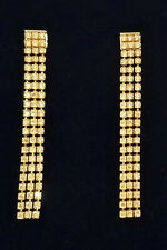 """Authentic Swarovski Fit Gold Plated Triple Strand Dangle Earrings 3"""" 5364807 NEW"""