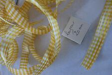 vintage ruban satin vichy jaune blanc  avec fil de cuivre pour mise en forme
