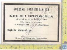Firenze - Solenne Commemorazione Martiri Indipendenza Italiana - 1881