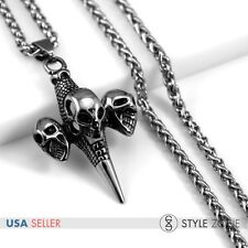 Men's Stainless Steel Gothic Skull Head Maken Cross Pendant Punk w Necklace P39
