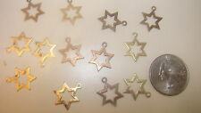 72  VINTAGE BRASS  STAR OF DAVID  RELIGOUS CHARMS WHOLESALE