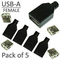 5pcs USB-A 4-pin Female Connector - Solder Kit  Black Plastic Shell NEW DIY UK