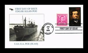 DR JIM STAMPS USEDGAR ALLAN POE SHIP USS EA POE FIRST DAY ISSUE COVER