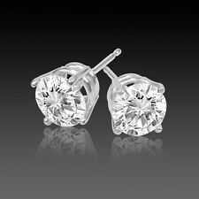 14K White Gold Natural Diamond Round Solitaire Screw Back Stud Earrings 1CTW