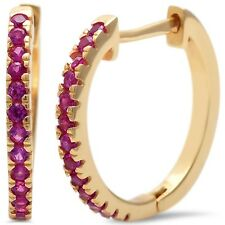 Yellow Gold Plated Ruby  .925 Sterling Silver Hoop Earring