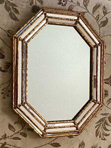 Vtg LaBarge Italian Faux Bamboo Octagon Gold Gilt Wood Mirror Hollywood Regency