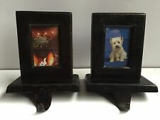 Vintage Cast Iron Photo Frame Stocking Holders Black set of 2
