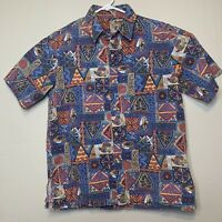 Vintage 80s 90s Men's Tropical Fish Surf Blue Red Hawaiian Short Slve Shirt M/L