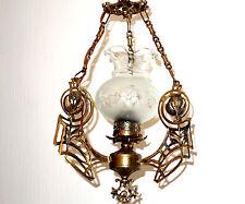 Antik  Französische Messing-Glas Kronleuchter, Lüster 1 Flammig