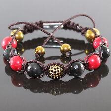 Damen Herren Shamballa Armband  Armreifen Bracelet Rot/Schwarz Unisex