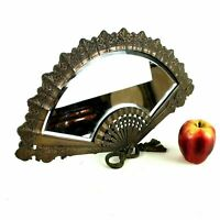 Antique French Bronze / Copper Finish Fan Shaped Beveled Table Top Mirror