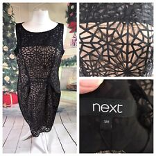 NEXT Ladies Black Gold Evening Dress Size 18R Party Cruise Occasion Smart NWOT