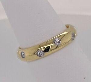Tiffany&Co 18k, Plat. & Diamond Etoile Eternity Wedding Band Sz 6