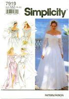 Simplicity 7919 Misses Bridal Bride Wedding Gown 16-22 Vintage Pattern UNCUT FF