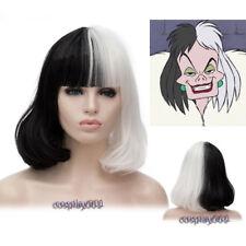 Cruella de Vil Costume Wig Black White Ms. Spot Hair Deville Dalmations Wig +Cap