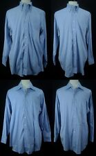 Lot of 4 PAUL FREDRICK Blue 80's 2 Ply Pinpoint Oxford Dress Shirts Sz 17 34 XL