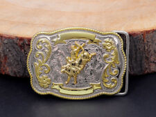 BULL RIDE RODEO LONG HUGE FLOWER CARED COWBOY WESTERN TEXAS SHINE BELT BUCKLE