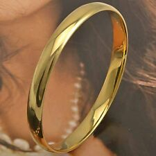 Smooth 9K Yellow Gold Filled Womens Bangle Bracelet,F3824