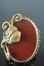 TURKISH ART DECO VICTORIAN 925 SILVER 8 CT OVAL AGATE S 8 SULTAN UNISEX RING