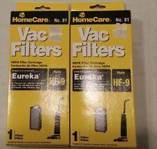 Genuine Sears 2 x HomeCare Hepa Vac Filters Catridges Eureka Hf-9 No. 81
