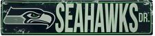 """SEATTLE SEAHAWKS STREET METAL 24 X 5.5"""" SIGN DRIVE NFL ROAD DR AVE DISTRESSED"""