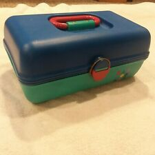 "ViCaboodles Make Up Storage Case 2602 Blue Teal Pink Organizer Tote 12"" X 7"" X 5"