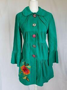 Anthropologie Turquoise Peplum Bell Sleeve Velvet Coat Medium
