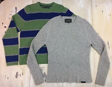 ABERCROMBIE & FITCH: 2 Sweater Lot, Gray Ribbed, Green Blue Striped Crewneck, XL