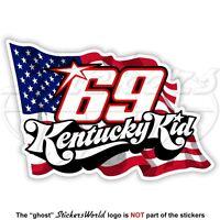 NICKY HAYDEN 69 Kentucky Kid USA Flag MotoGP 100mm Sticker Decal Autocollant