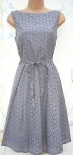 PRIMARK SIZE 8 BRODERIE ANGLAIS FULL SKIRT COTTON SUMMER DRESS GREY# US 4 EU 36