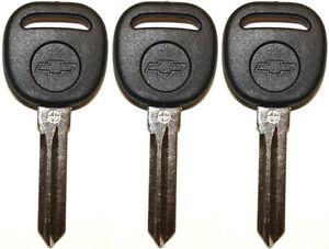 3 NEW UNCUT CADILLAC CHEVY TRANSPONDER CHIP IGNITION KEY B111-PT W/Chevy Logo
