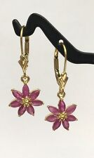 14k Solid Yellow Gold Leverback Cluster  Dangle Earrings, Natural Ruby 1.5TCW