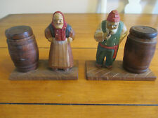 Antique Hand Carved Man Woman Figurines on Dock W/ Barrels Fisherman / Merchants