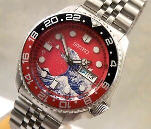 Seiko Godzilla Kanagawa Wave Coke Day Date Automatic Divers Watch Custom SKX009