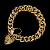 ANTIQUE VICTORIAN CURB BRACELET 9CT GOLD HEART PADLOCK CIRCA 1900