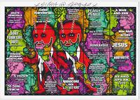 Gilbert & George - signierte Karte 15 x 21 cm - BEARD SPEAK - mit COA Zertifikat