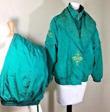 Lavon Women's Petite Med Teal Nylon Suit Retro Vtg 80's 90's Track 2 Piece  B507