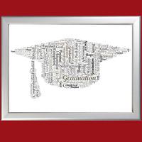 Personalised Word Art Motar Board Shape keepsake gift for someone graduating