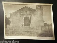 Man and Priest Posing in front of Church near Canal Zone, Panama Antique Photo