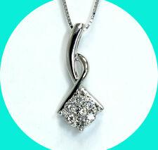 .25CT diamond cluster drop pendant necklace 18K WG 14K box chain