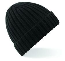 Chunky Ribbed Pull on Beanie Hat Adults / Mens /ladies/ Knitted Beechield Bb465 Black One